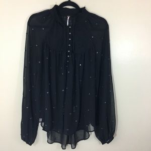 Free People Embroidered Swing Blouse